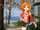 Девочка аниме на улице