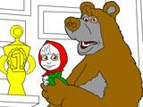 Раскрась Машу и Медведя