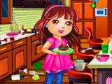Даша убирает кухню