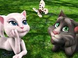 Говорящий кот Том с Анжелой и бабочка