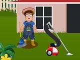 Сэм убирается в саду