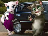 Говорящий кот Том и Анжела на лимузине
