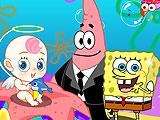 Губка Боб и Патрик сидят с малышом