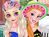 Эльза и Анна: вечеринка у бассейна