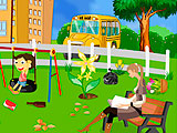 Уборка школьного двора